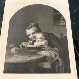 "Vintage Wall Art - GRANDMOTHER'S DARLING 10"" x 6"" - Antique Engraving"